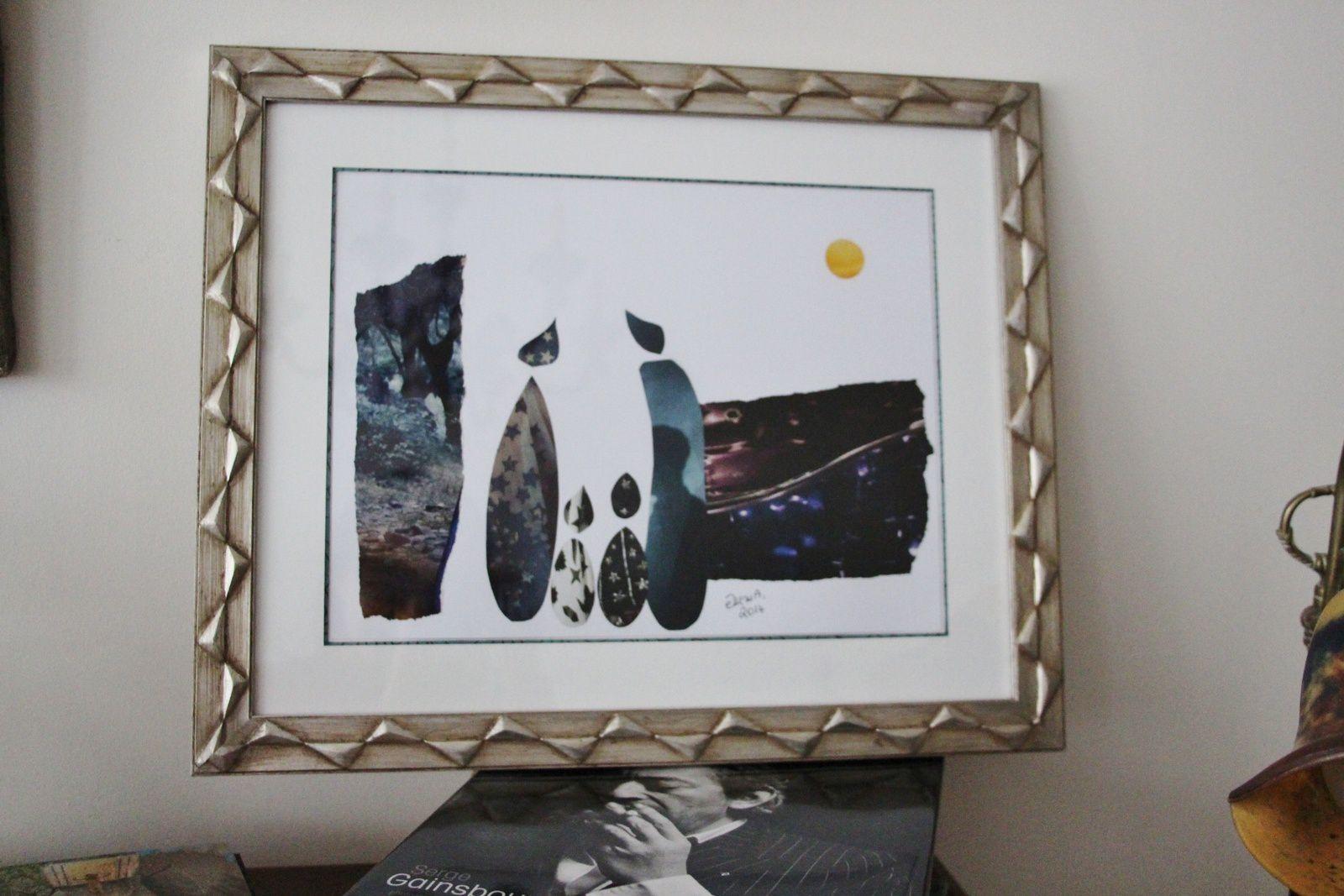 """Les Collages d'eMmA MessanA, collage encadré """"Pleine lune"""", pièce unique"""