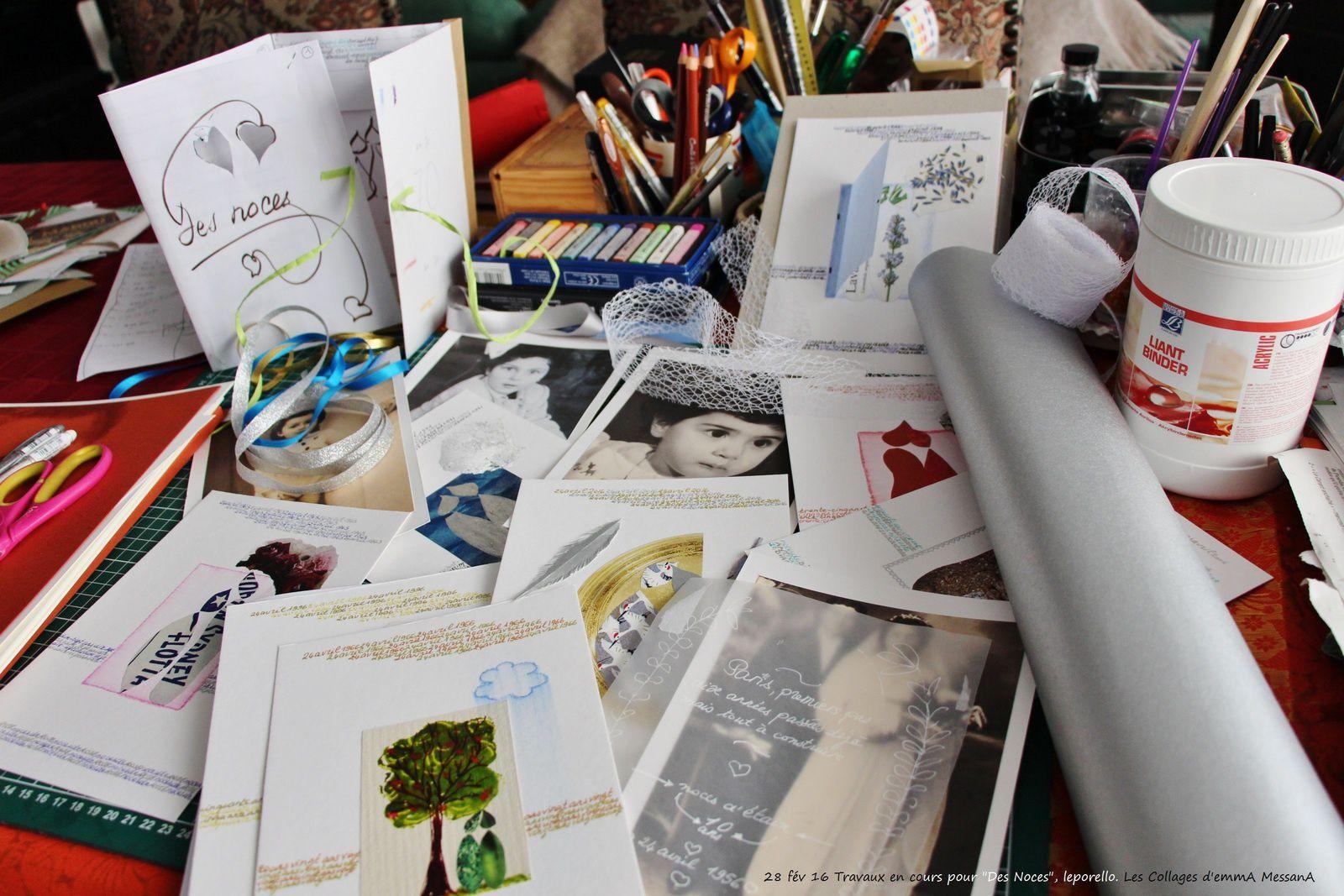 """Les Collages d'eMmA MessanA, chantier dans mon eMmAtelier, autour du prochain livre-accordéon """"Des Noces"""""""