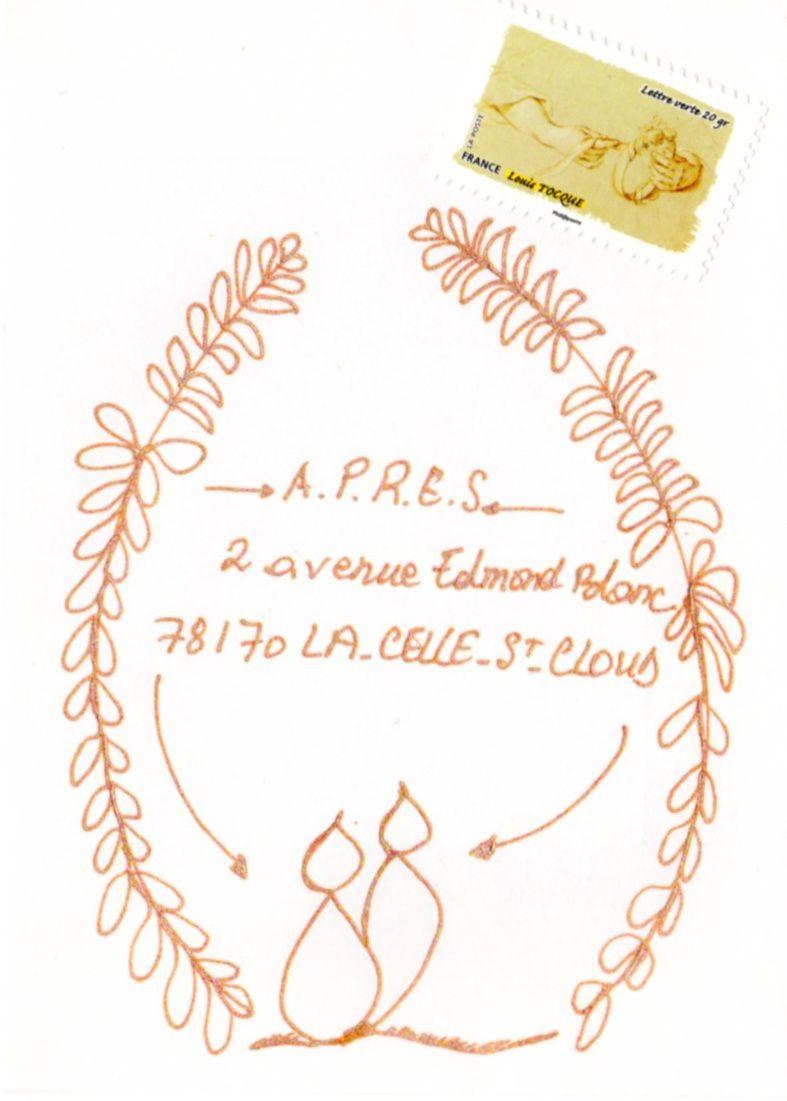 """Sur cette enveloppe Coeur à coeur : timbre de la série """"Gestes de la main, le Toucher"""". Conception graphique : Corinne Cretin-Salvi à partir de photographies. Louis TOCQUE © RMN-Grand Palais (musée du Louvre)"""