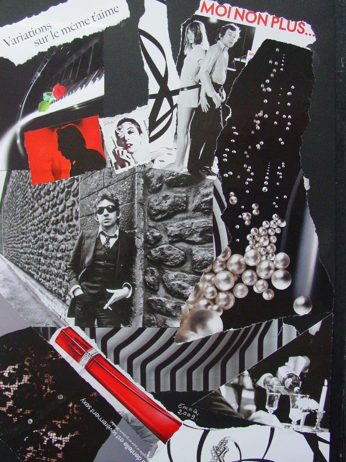 "Les Collages d'eMmA MessanA, collage hommage à Serge Gainsbourg, ""Gainsbourg for ever"", pièce unique"