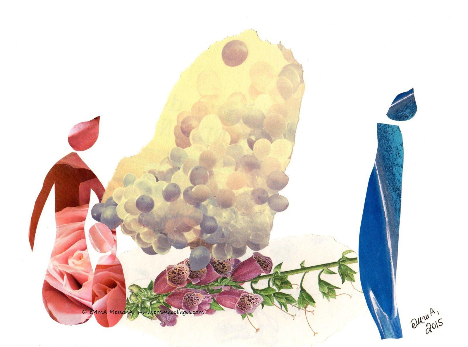 """Les Collages d'eMmA MessanA, collage """"Une légère différence"""", pièce unique"""