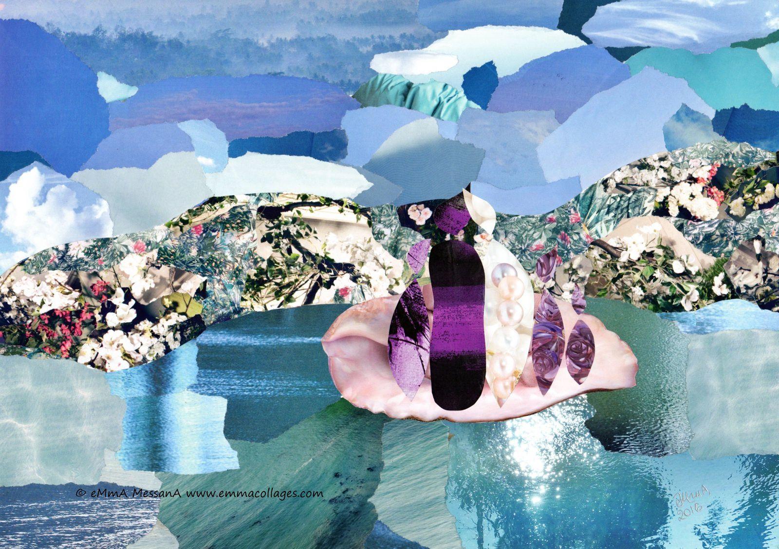 """Les Collages d'eMmA MessanA, collage """"Le chemin de nacre"""", pièce unique"""