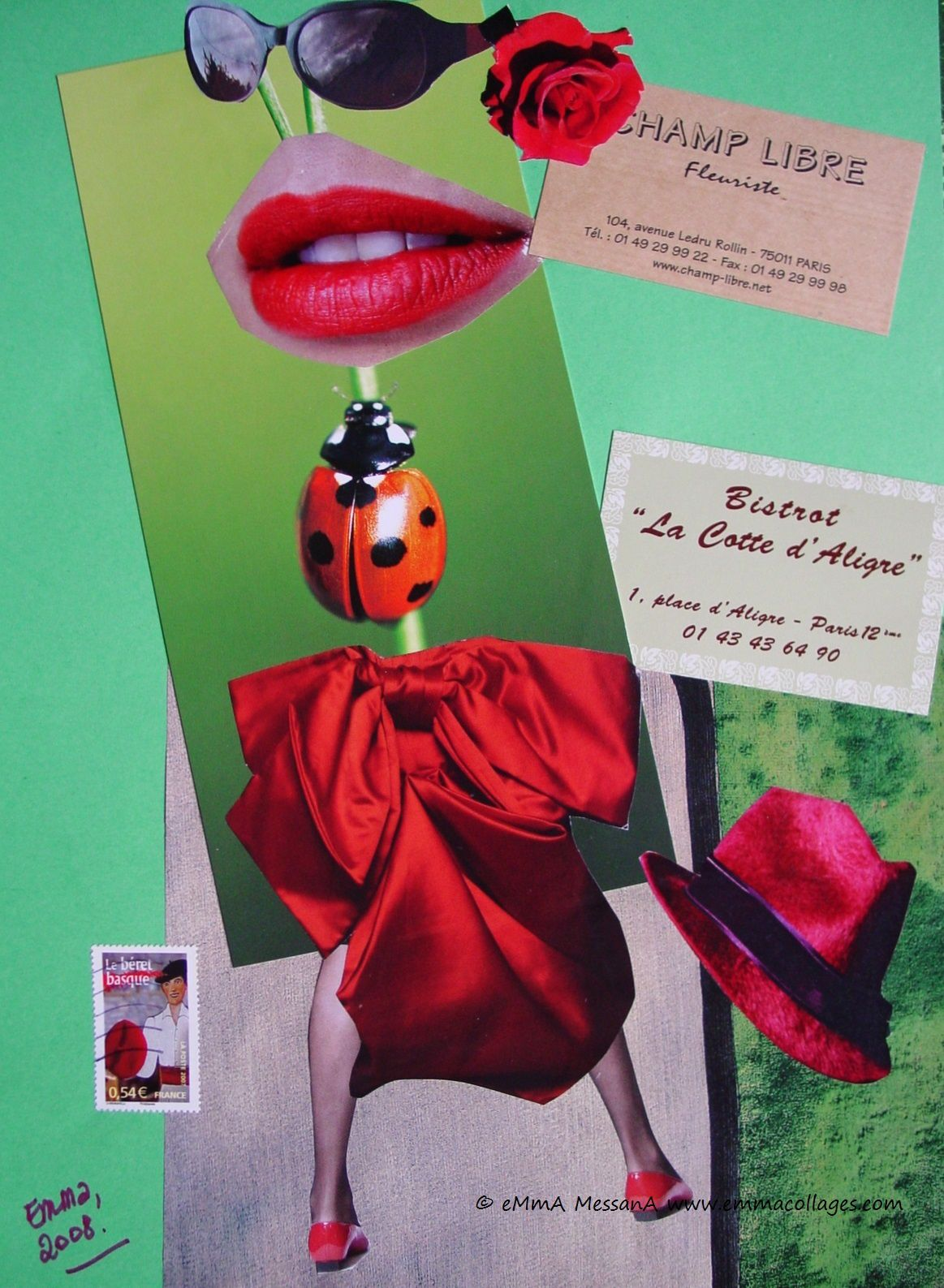 "Les Collages d'eMmA MessanA, collage ""La coccinelle de Paname"", pièce unique"
