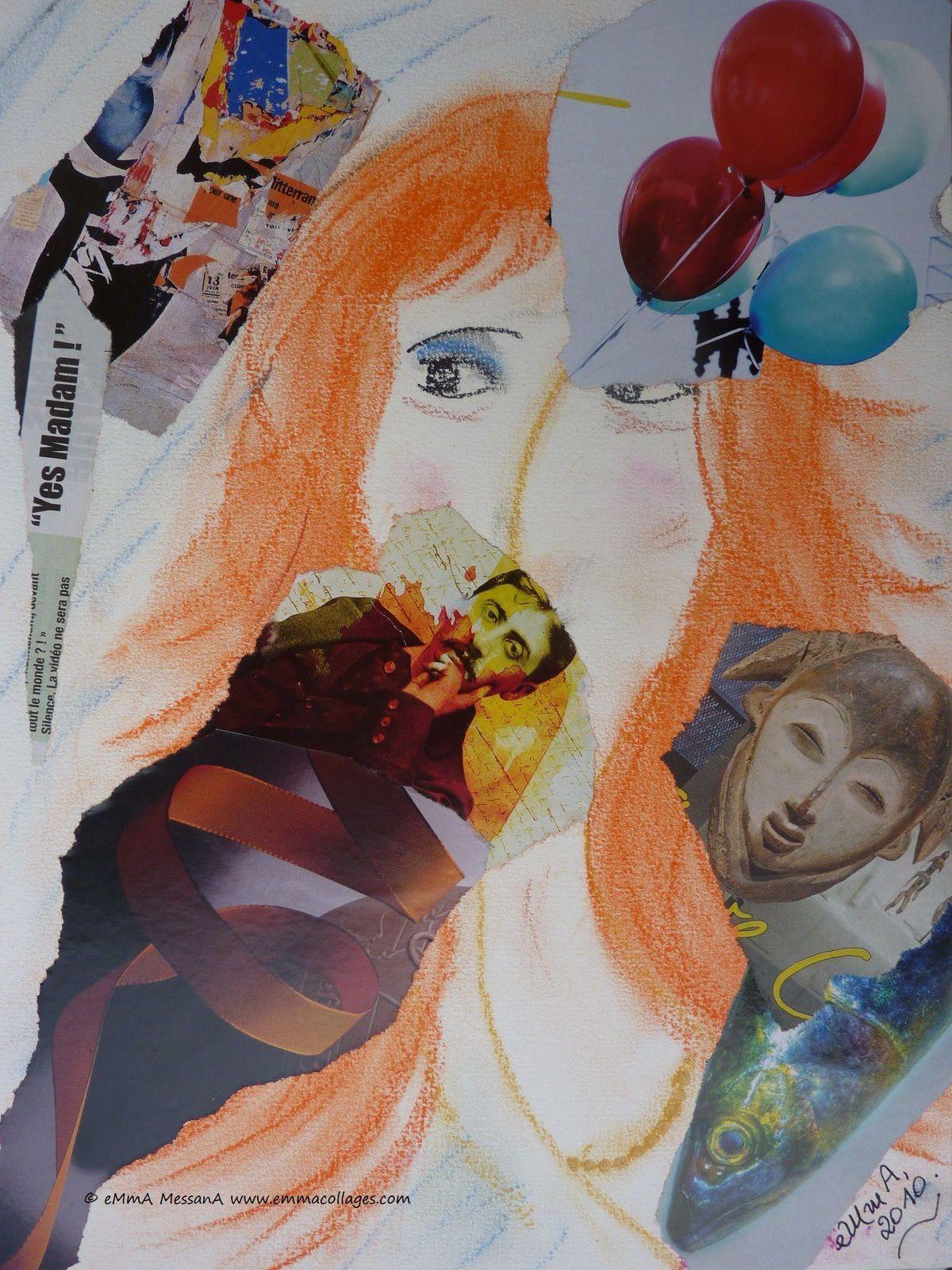 """Les collages d'emmA MessanA, collage """"Du côté de chez Madam !"""", pièce unique"""
