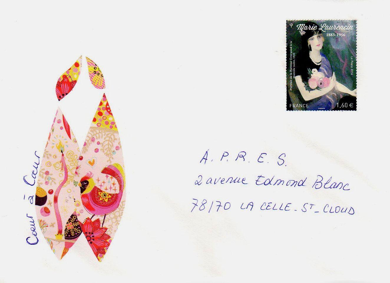 """Sur cette enveloppe Coeur à coeur : timbre gommé """"Portrait de la Baronne Gourgaud à la mantille noire"""" en l'honneur de Marie Laurencin. La Poste © Fondation Foujita / ADAGP, Paris, 2016."""