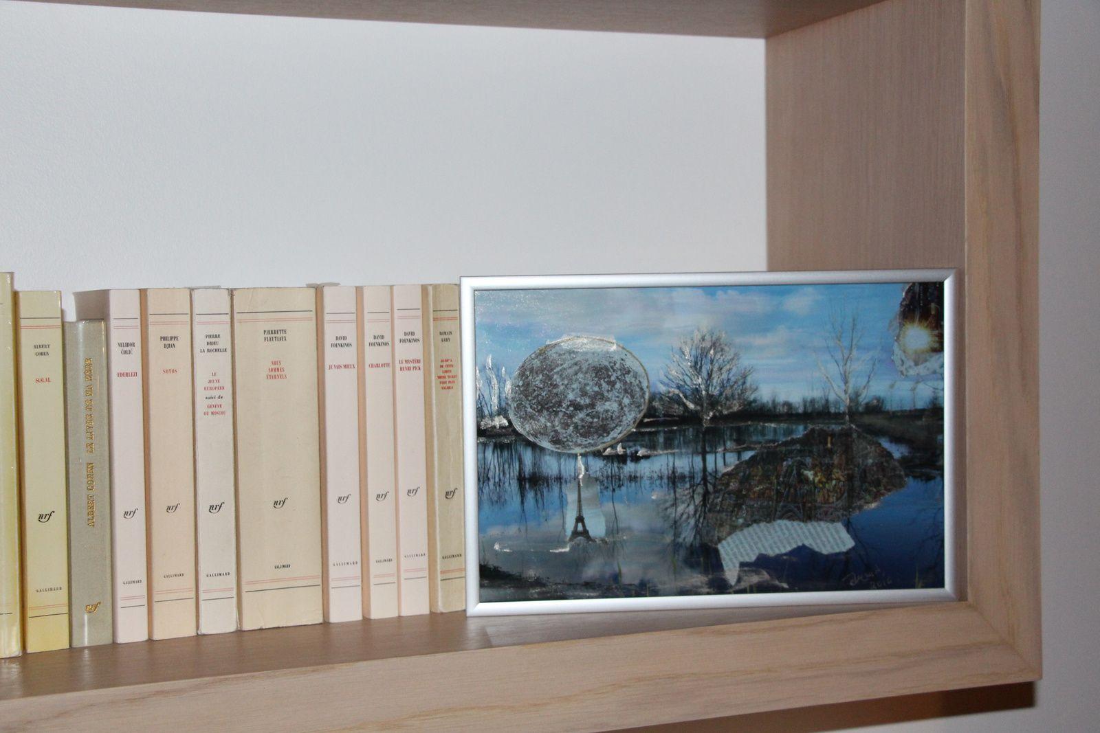 """Les Collages d'eMmA MessanA, collage sur photo """"Marais réinventé"""" encadré, pièce unique"""