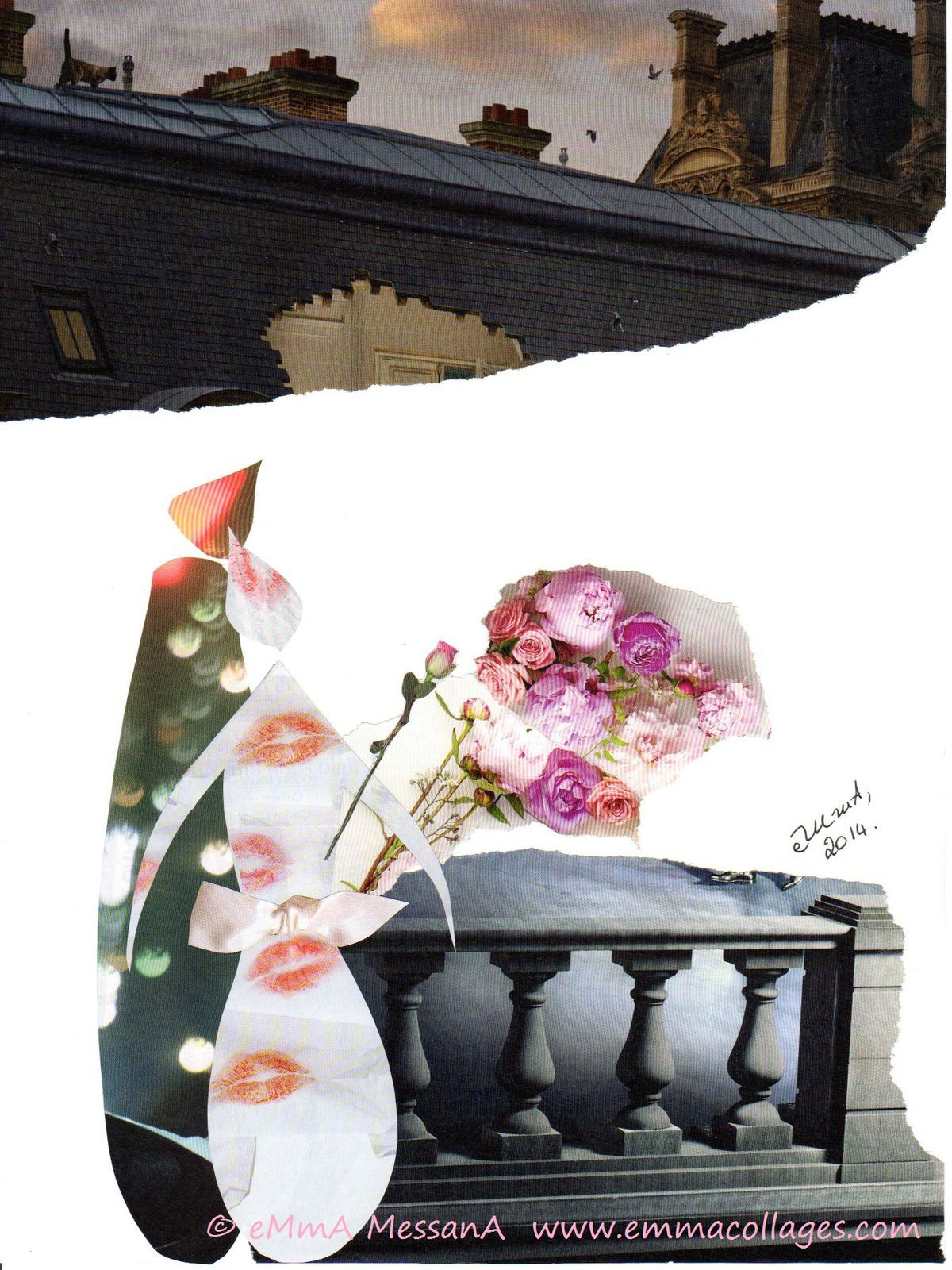 """Les Collages d'eMmA MessanA, collage """"Premier rendez-vous"""", pièce unique"""