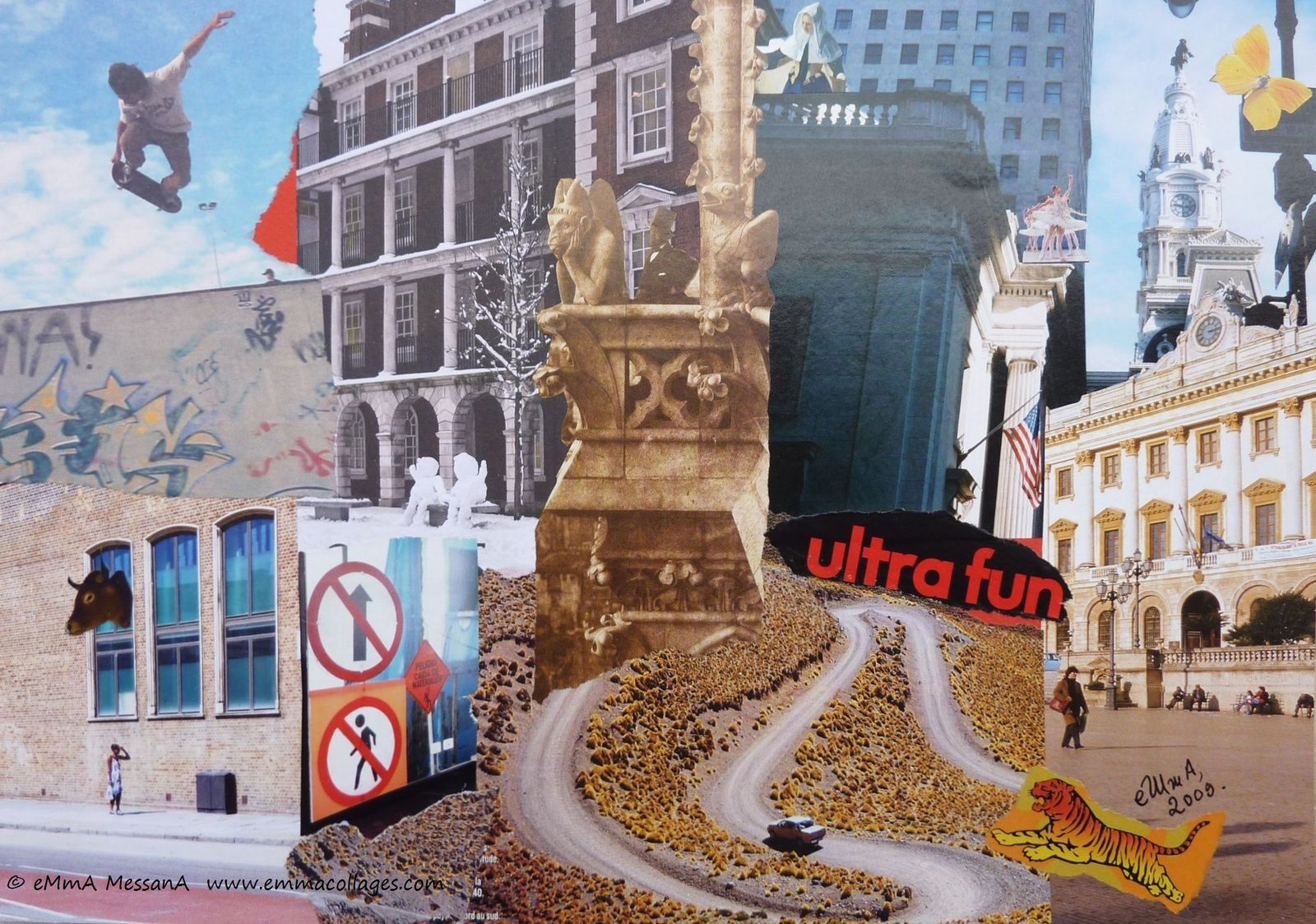 "Les Collages d'eMma MessanA, collage ""Ultra fun III"", pièce unique"