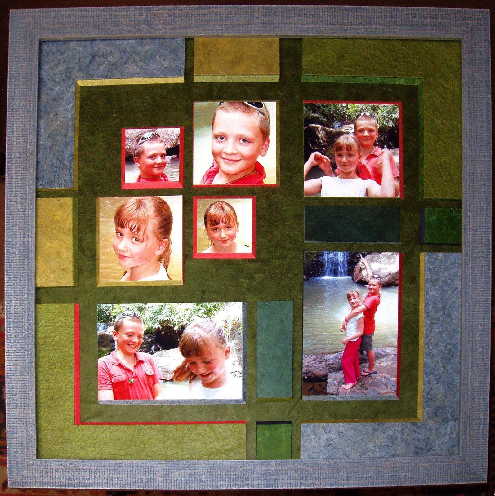 Multi-ouvertures en mosaïque de photos et de papiers : un jeu de composition.