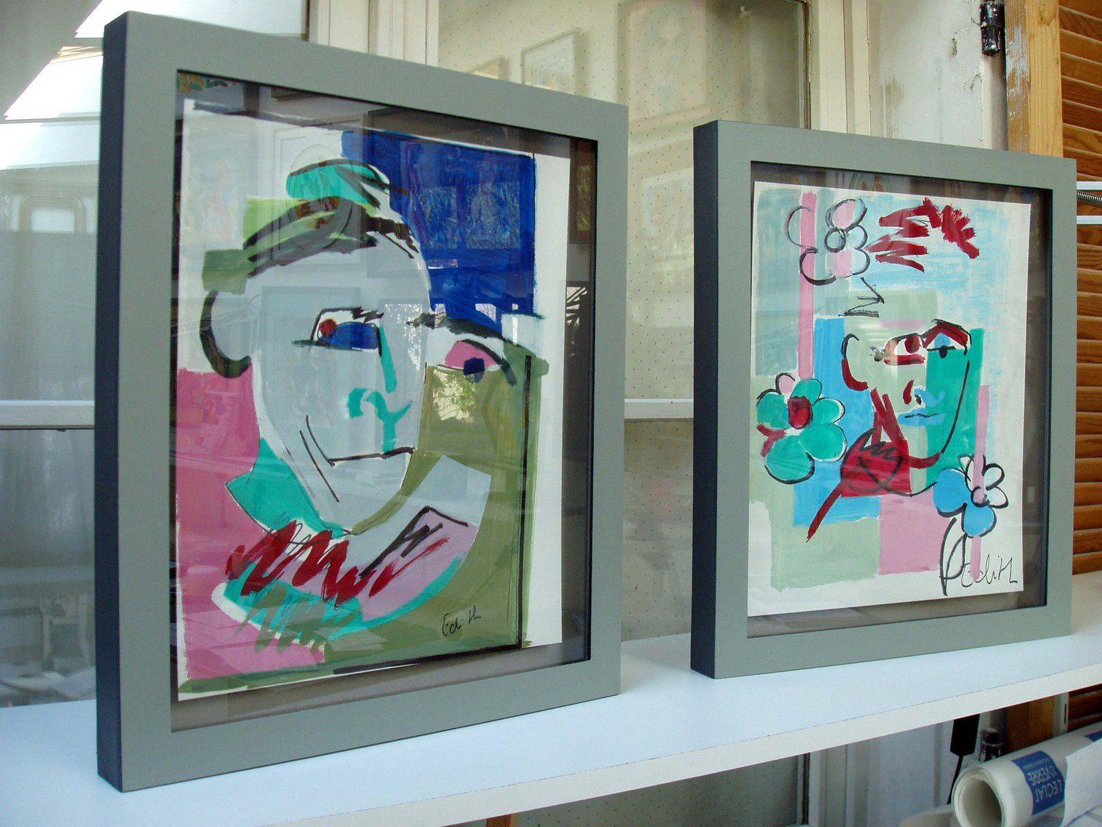 Boîtencadre vitré, et peint au coloris