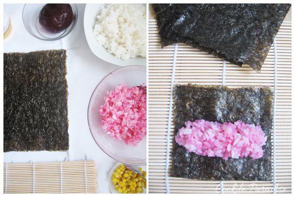 Bento hana-maki sushis à la betterave-maïs ♥ fleur de riz à la betterave-radis & salade de betterave-pomme & aux raisins verts