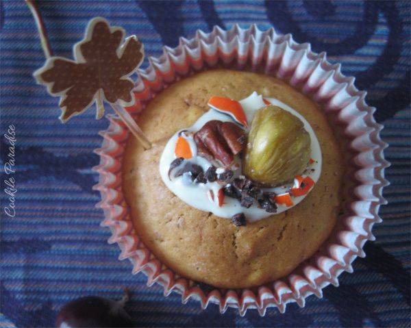 Pumpkin and chesnut bread cupcakes