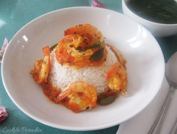 Rougail crevettes, sa timbale de riz basmati & son bouillon de brèdes cresson… saveurs & parfums de mon île Maurice