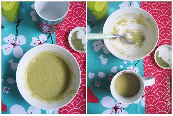 Mug cake au thé vert matcha-framboise