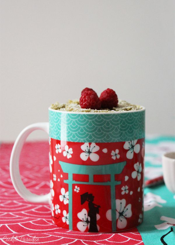 mug cake au th vert matcha framboise cookile paradise. Black Bedroom Furniture Sets. Home Design Ideas