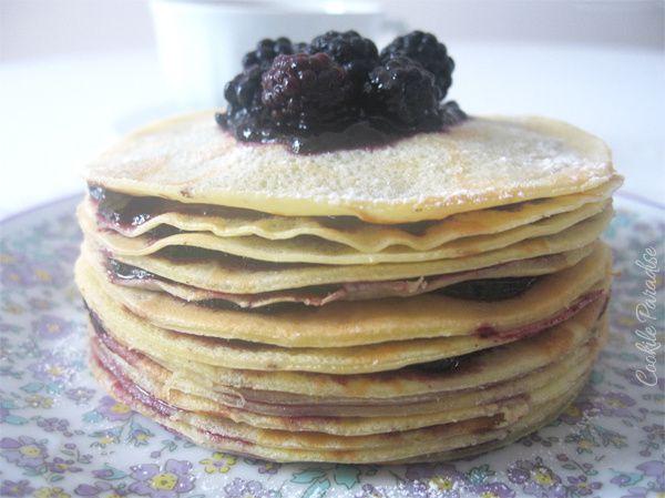 Gâteau de crêpes à la marmelade de myrtille bio pour la chandeleur
