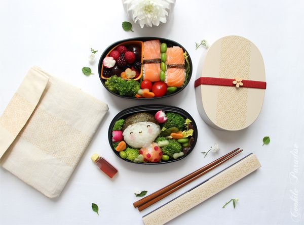 bento kokeshi aoki sushi de saumon fum nori l gumes saut s fruits rouges de la saison. Black Bedroom Furniture Sets. Home Design Ideas