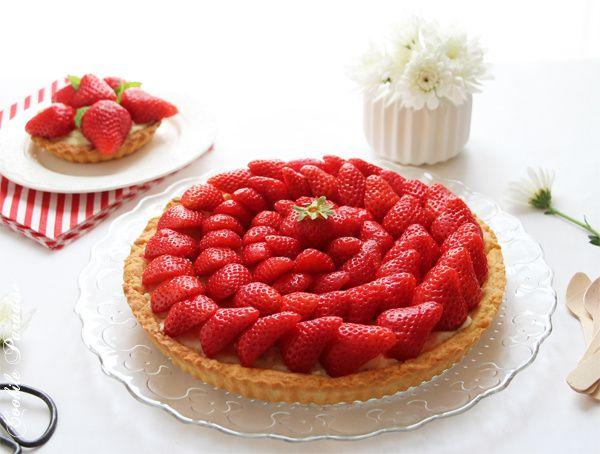 Tarte aux fraises &amp&#x3B; sa crème pâtissière vanillée