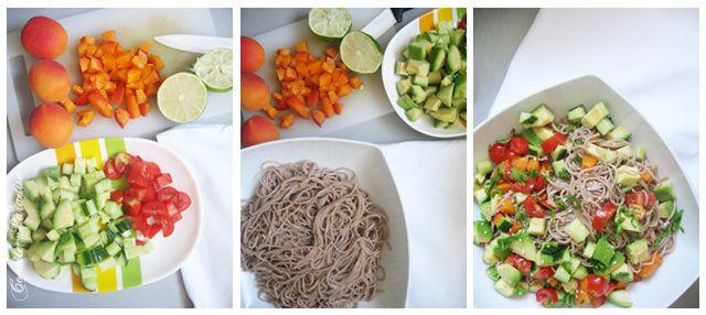 Salade de nouilles soba aux abricots & ces petits fruits-légumes