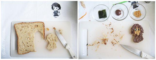 Bento pour le goûter Kiki la petite sorcière ♥ Kiki au chocolat-beurre de cacahuète, fleur de sandwich à la banane-beurre demi-sel &amp&#x3B; fruits de la saison
