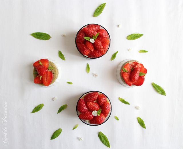 Verrine façon fraisier au thé vert matcha