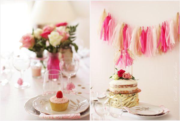 Mariage en rose et or ♥ Les petites douceurs - Lemon naked cake et Cupcakes à la vanille et glaçage à la crème de mascarpone-framboise