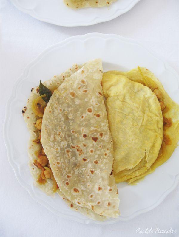 Curry kashmiri aux crevettes,  dhal puri, touffé brèdes & salade de concombre à la menthe, un déjeuner aux parfums d'île Maurice