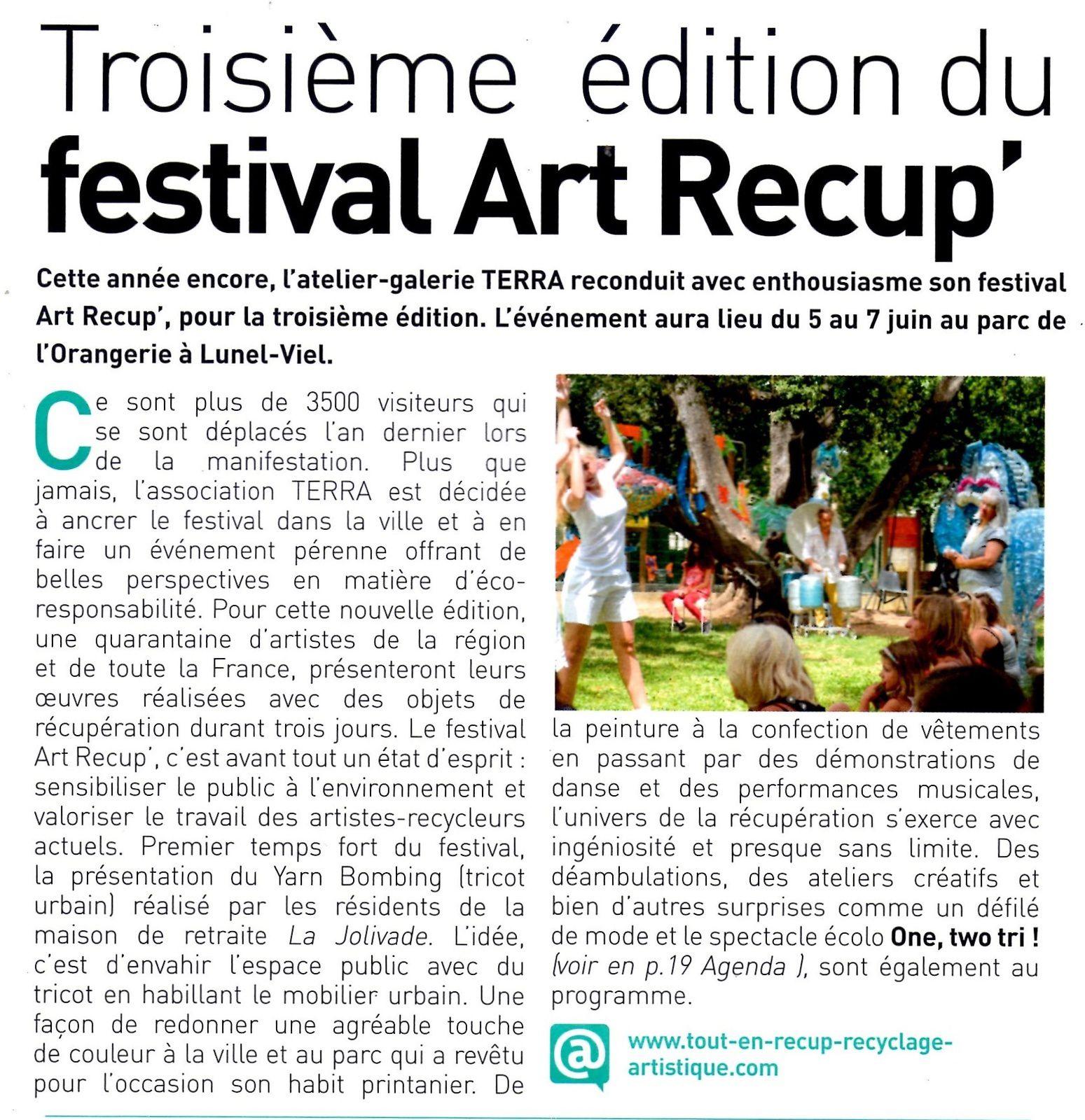 Troisième édition du festival Art Récup'
