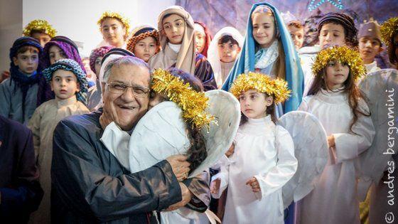 GAZA : Visite du Patriarche latin... La petite communauté dans la paix de la crèche