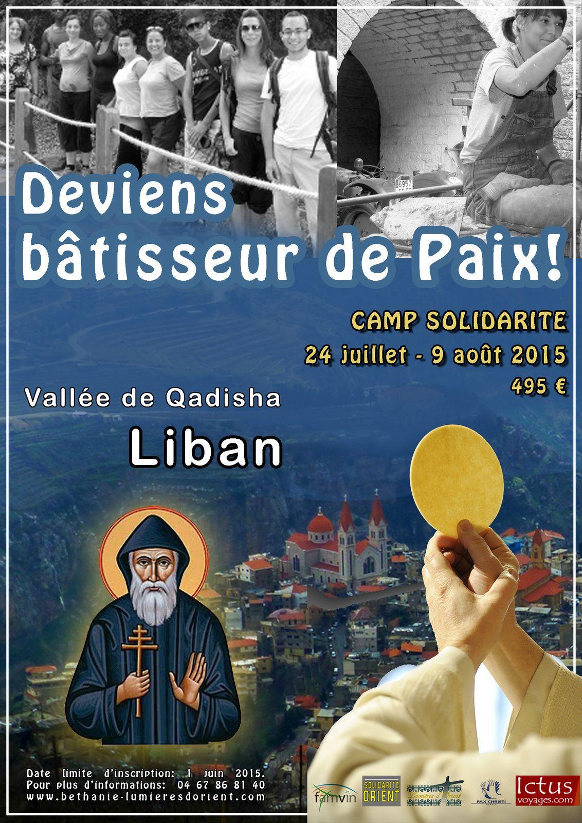 DIRECT sur RCF  ***  VENDREDI 24 juillet, à 8h44 le Père Patrice SABATER, cm présentera le Camp Mission-solidarité (24 juillet au 9 août 2015 - dans la Vallée de la Qaddisha -- Liban)