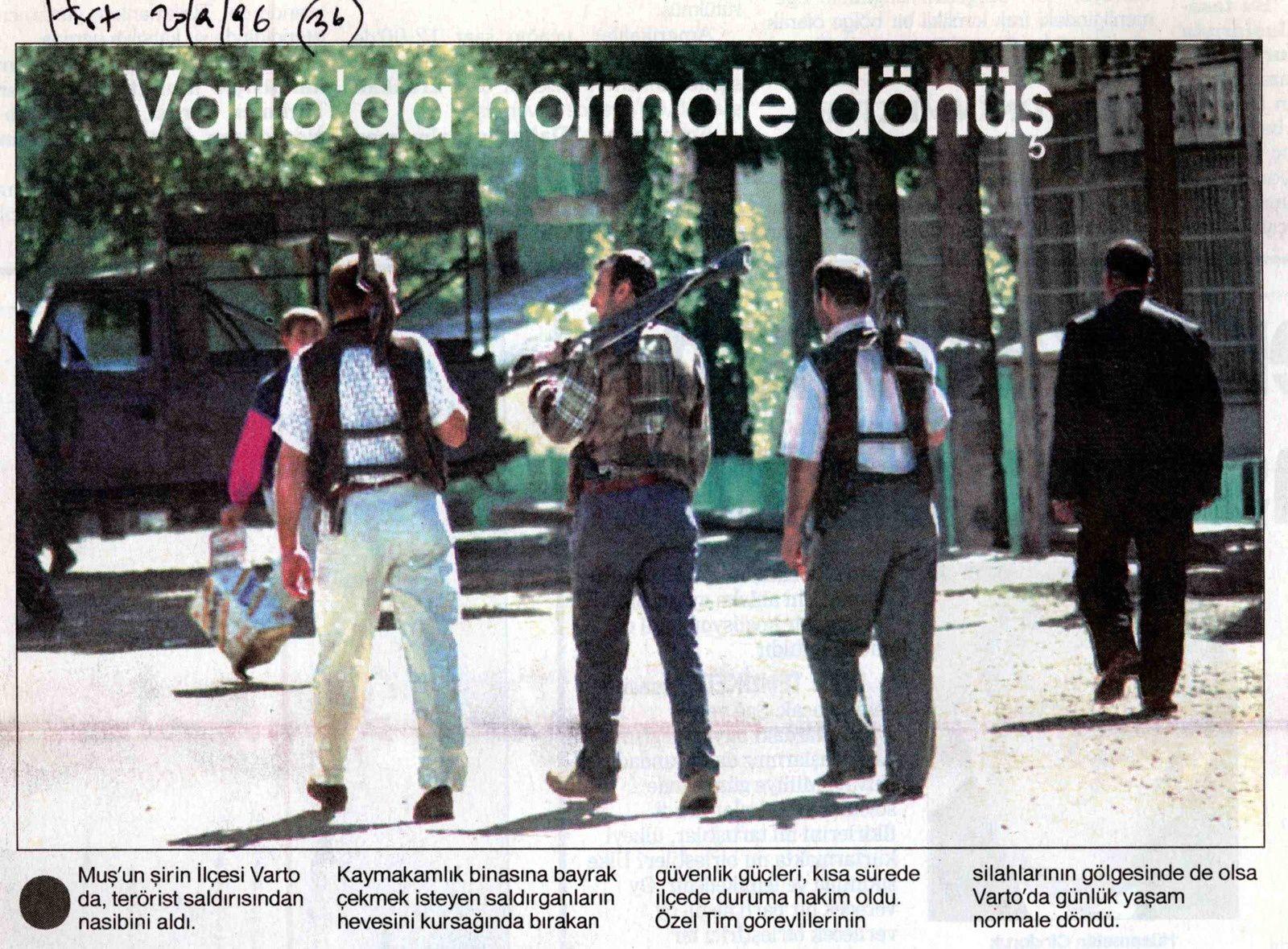 """""""Retour à la normale à Varto"""". Hürriyet, 20 septembre 1996"""