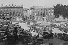 Les troupes allemandes sur la Place Stanislas. Wikipedia.