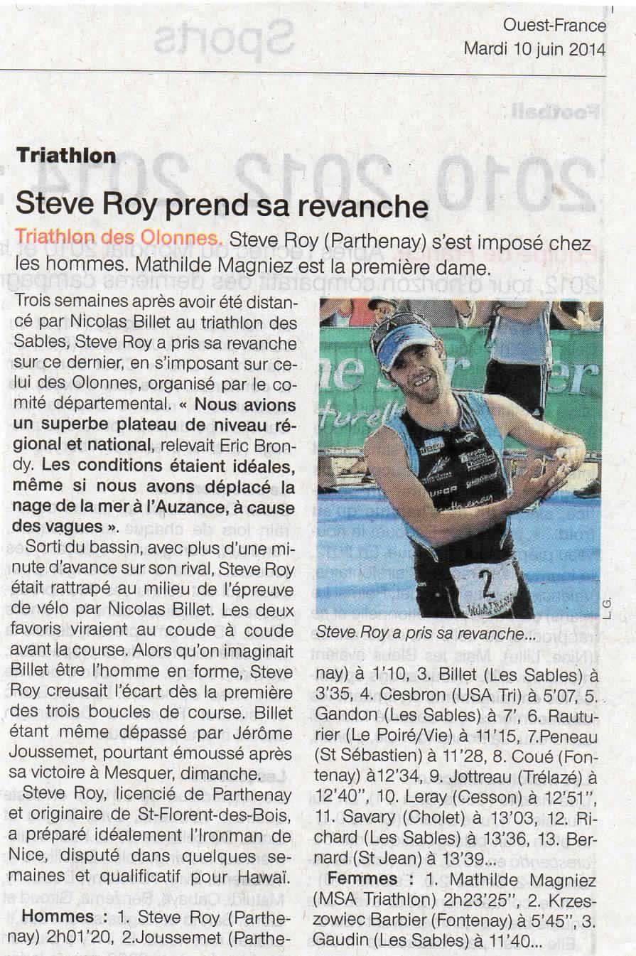 Ouest-France 10 juin 2014 (Sport)