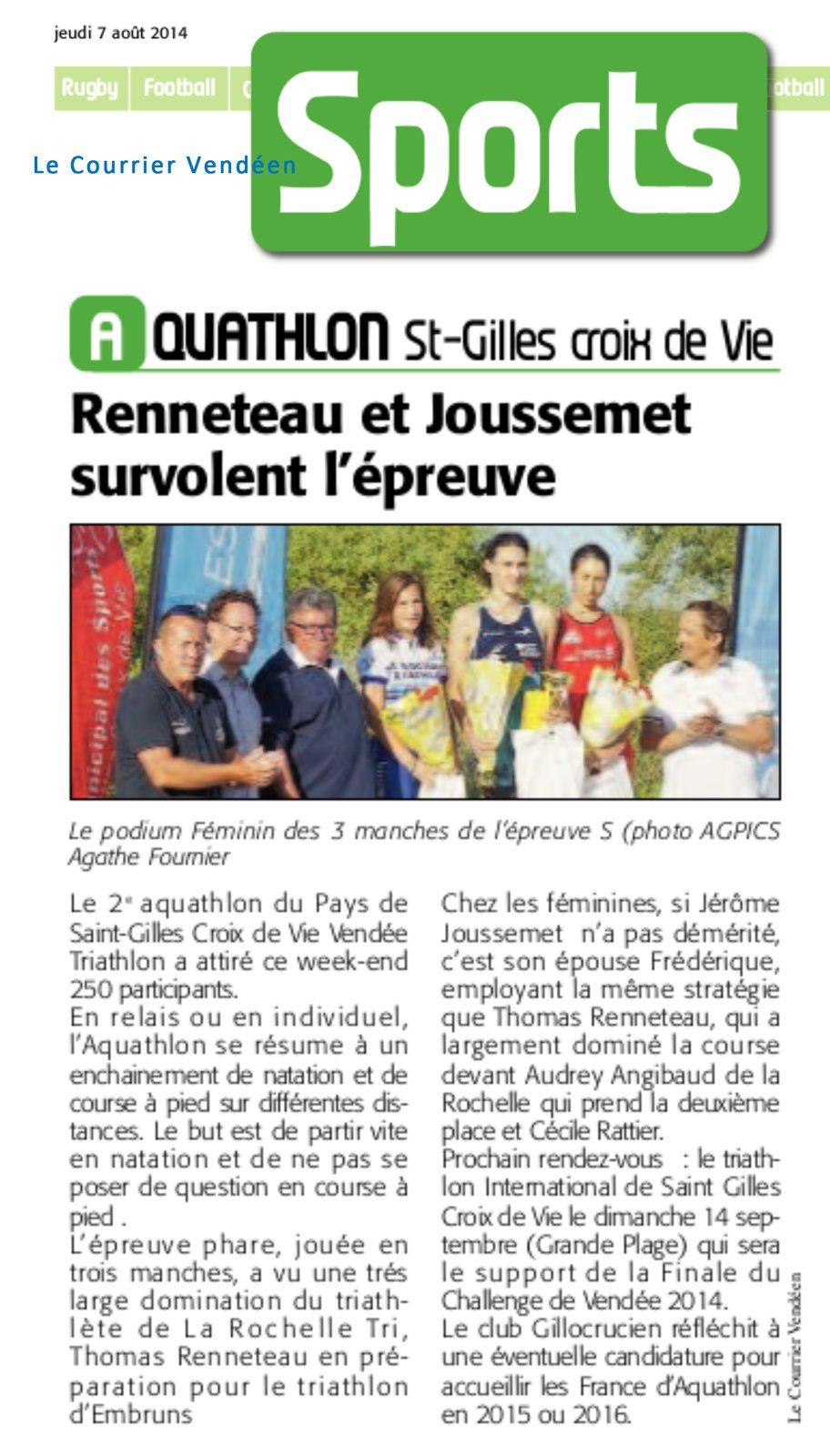 Aquathlon Courrier Vendéen 7 aout 2014