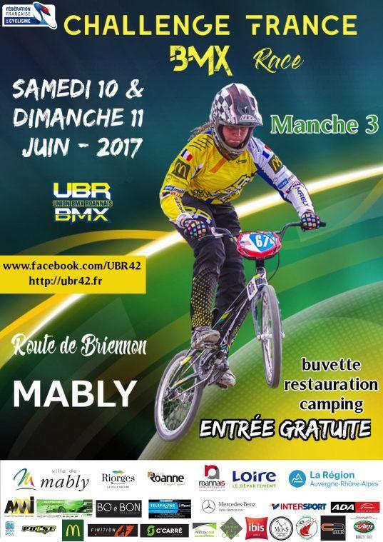 Invitation, inscrits, générateur de race et timing pour la dernière manche du challenge France à Mably, 10 et 11 juin