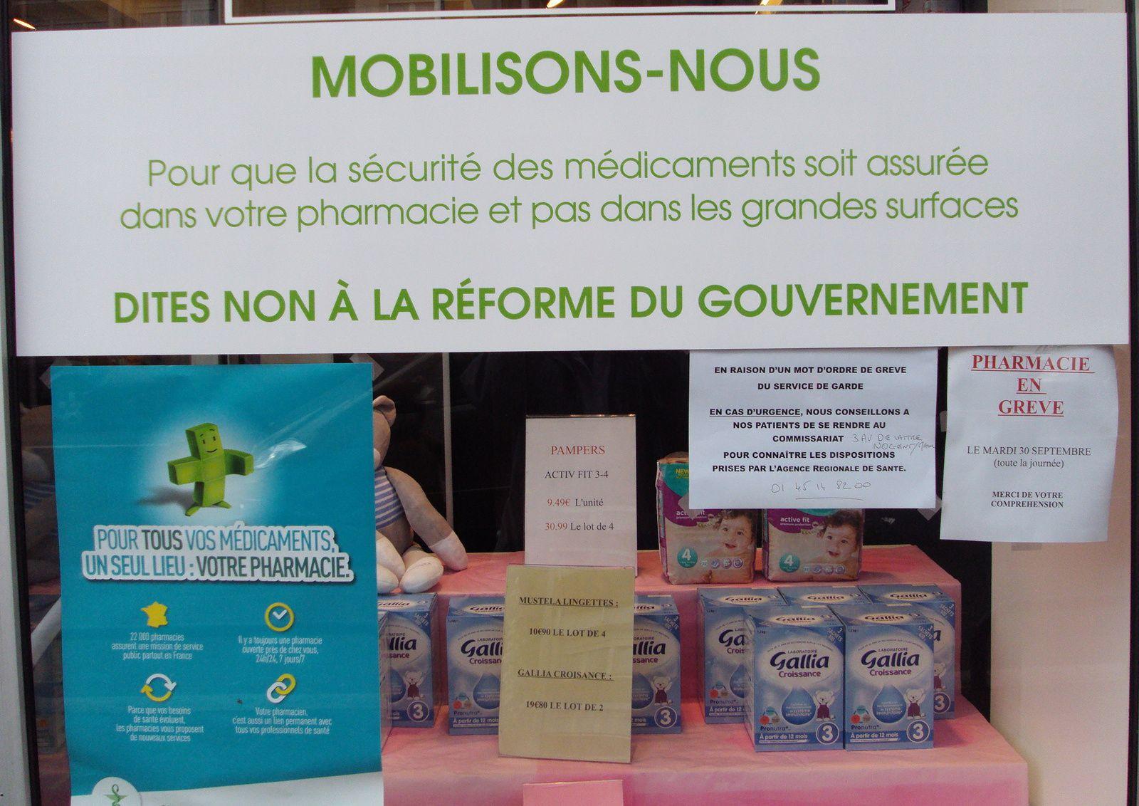 A Joinville-le-Pont, la pharmacie principale, rue de Paris sera en grève.