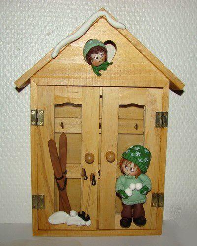 Boîte à clés &quot&#x3B;enfants dans la neige&quot&#x3B;...