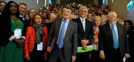 Photo de lancement de l'UDI en octobre 2012 avec Jean Louis Borloo