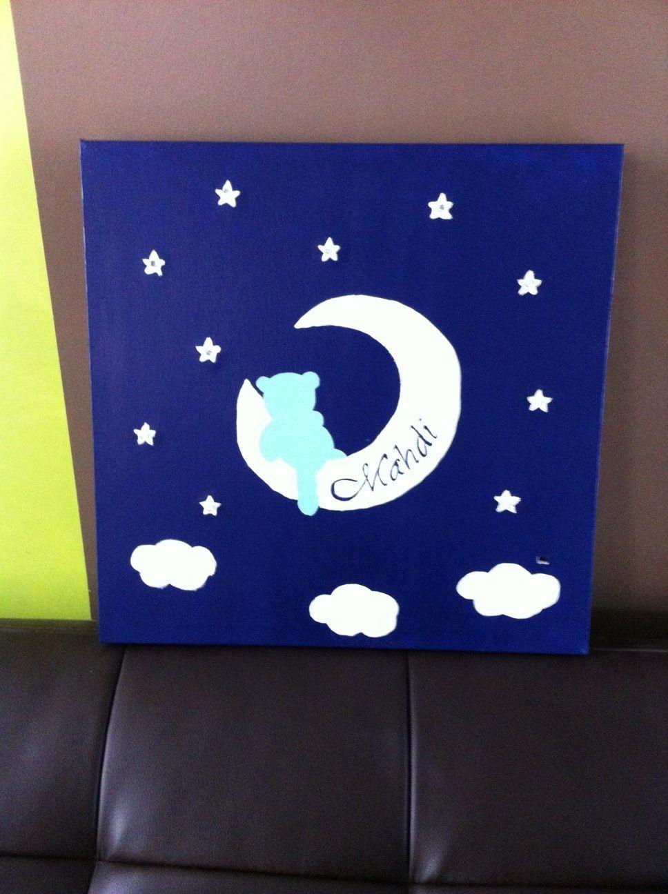 Toile et Pêle Mêle Ourson bleu nuit