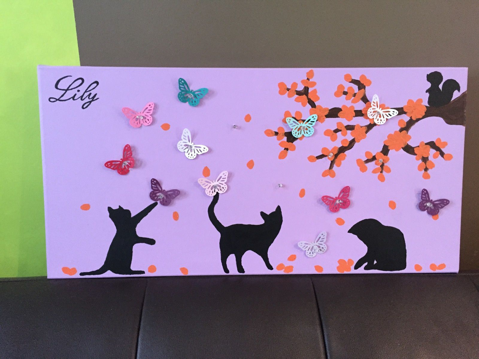 Toile Lumineuse Chat et papillons
