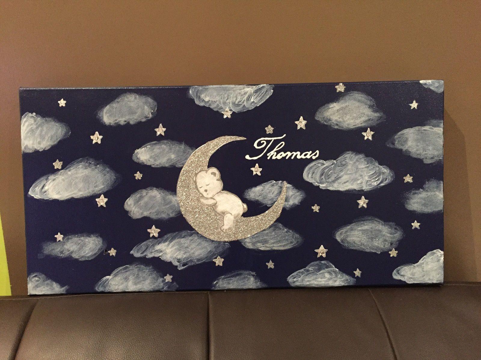 Toile Lumineuse Ourson qui dort sur la lune