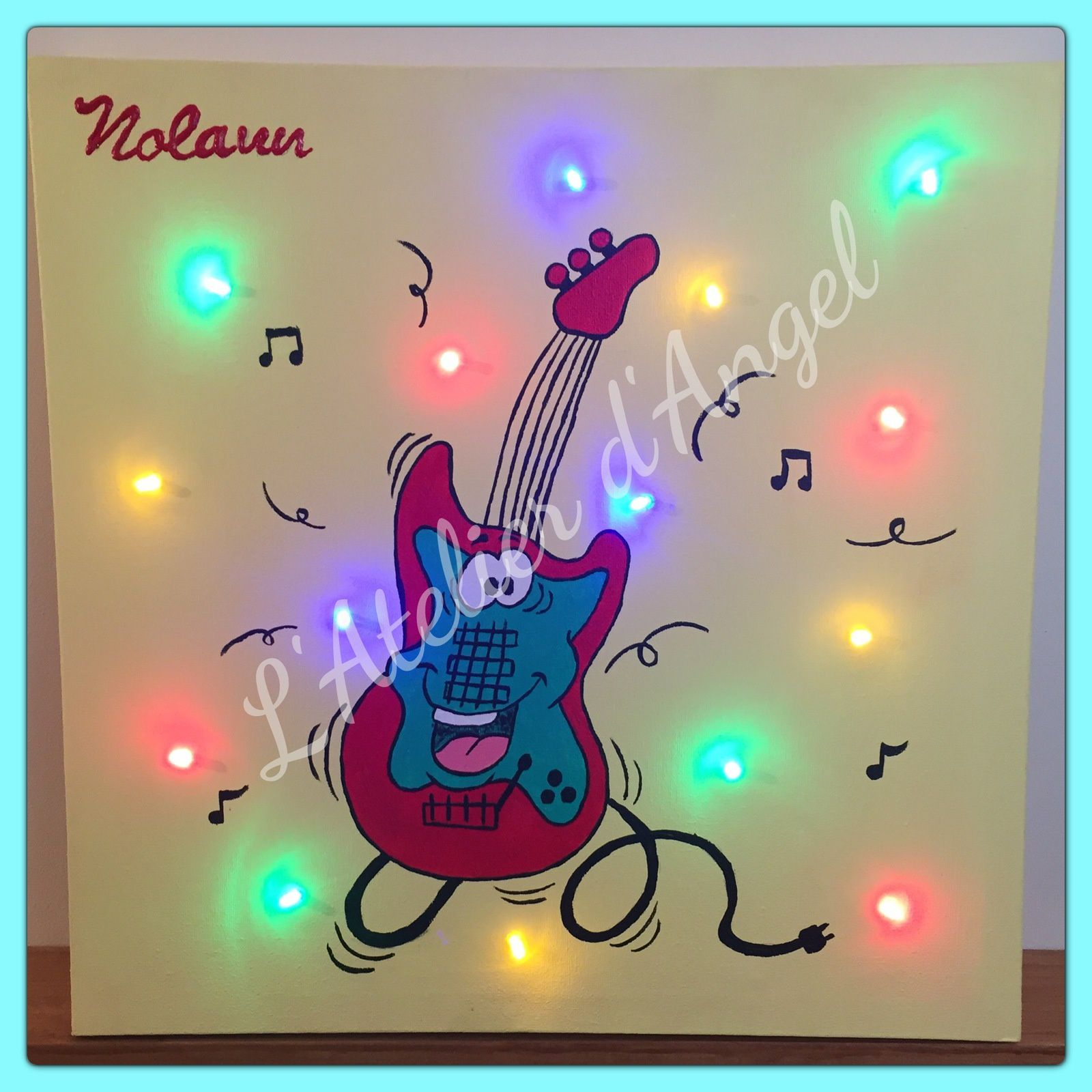 Toile Lumineuse Guitare et Chat