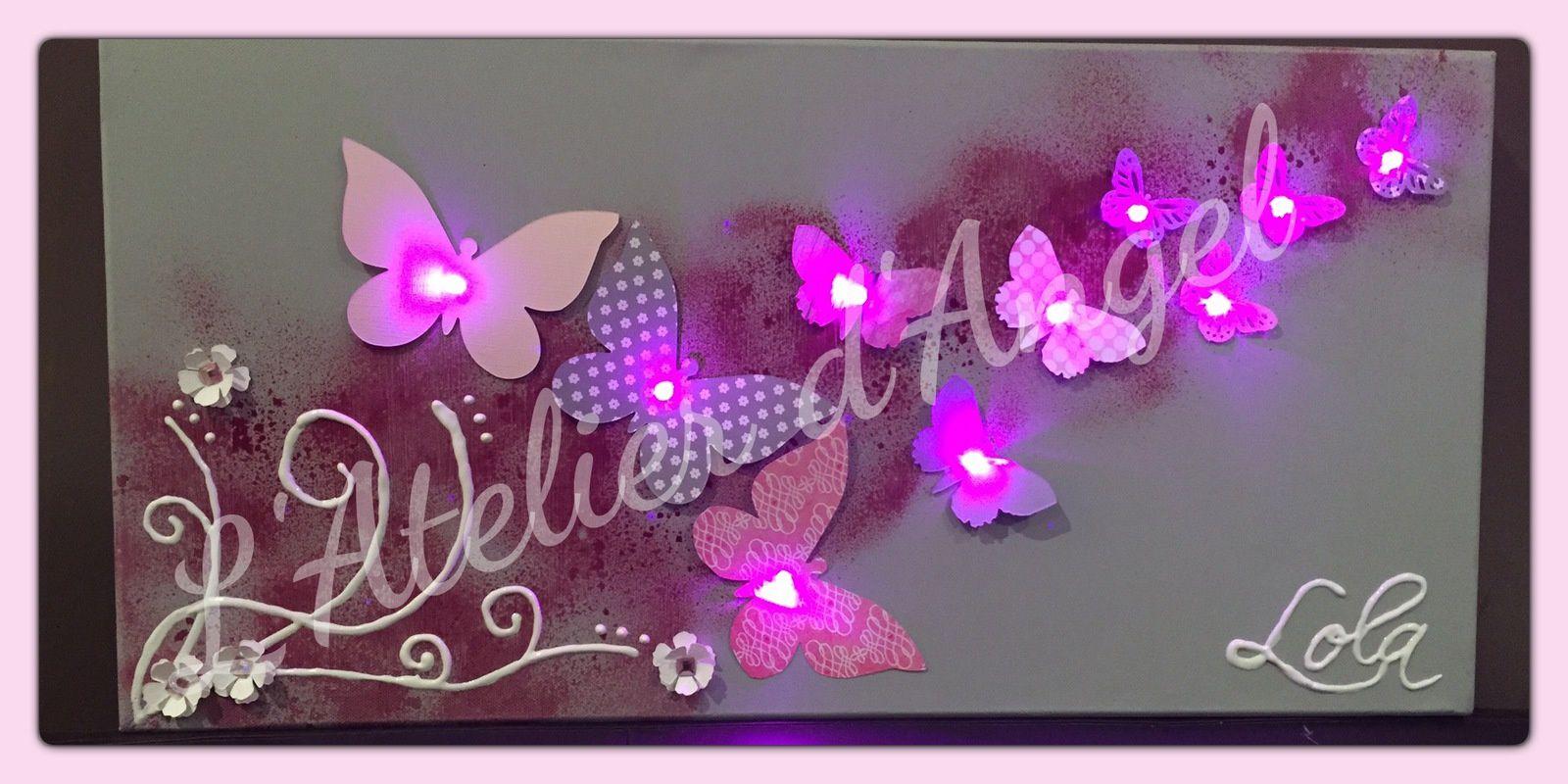 Toiles lumineuse Envolée de papillon et Fée