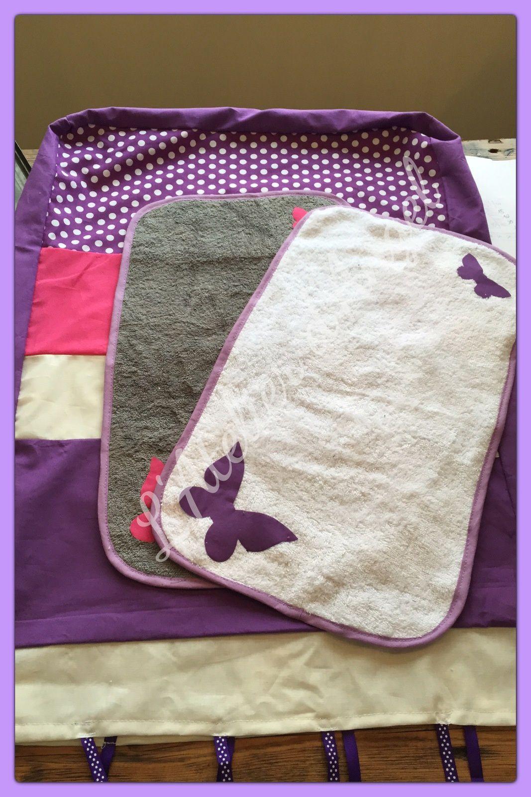 Ensemble thème Papillons violet et rose