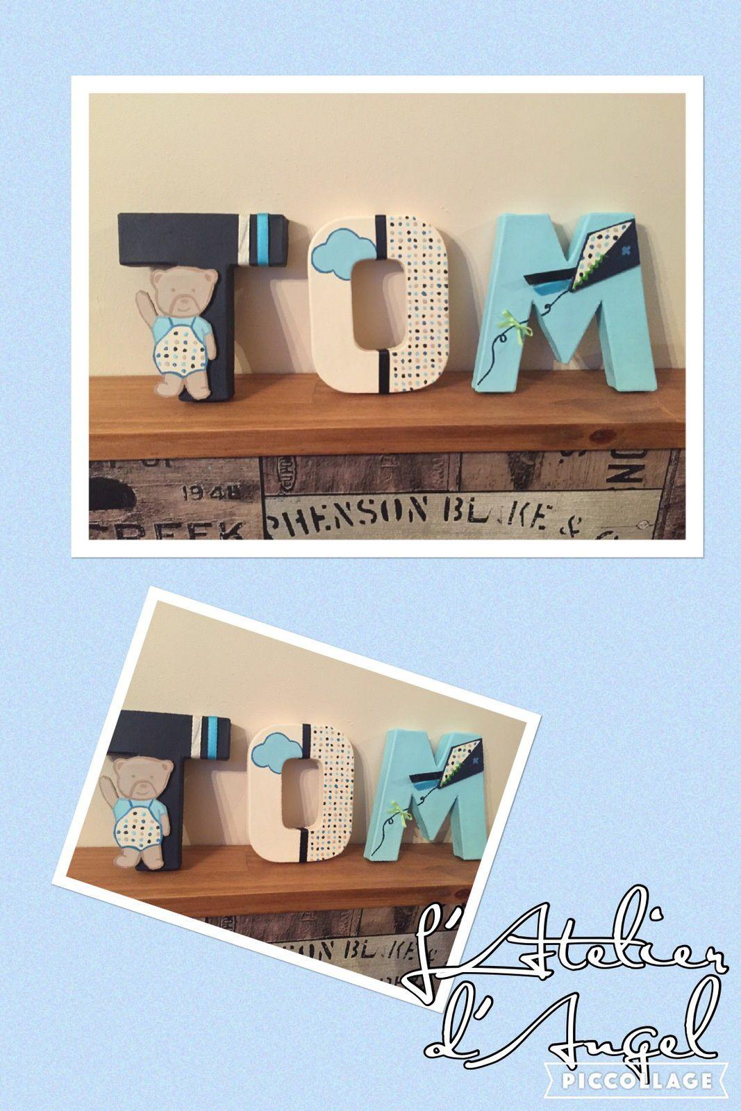 Lettres en cartons décorées