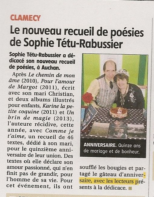article du journal du centre du 28-06-2015 de Michel potier