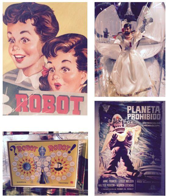 """Quelques objets présentés, dont """"Priscilla folle du futur"""" que j'adore, le Ken barbu d'une Gay Pride improbable avec ses gants Mappa en aluminium., ainsi que le ventilateur robot : mieux qu'un Dyson !..."""