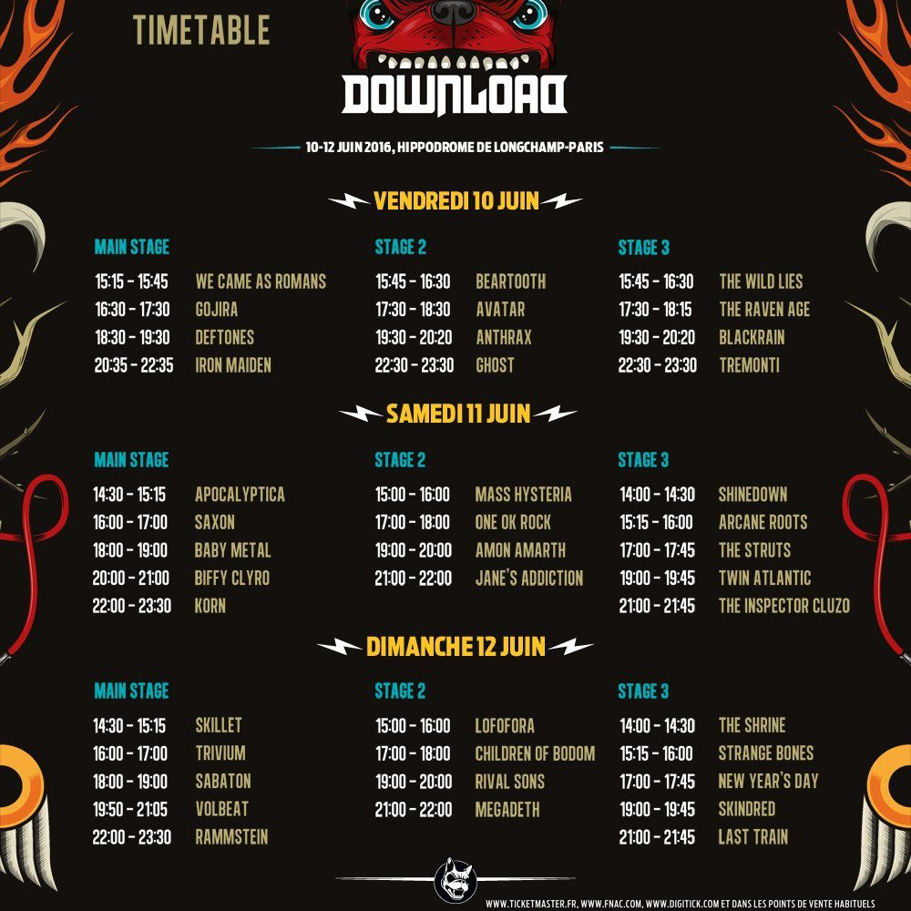 Le DOWNLOAD festival de Paris dévoile le Running Order