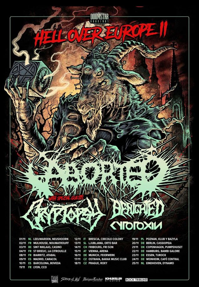 BENIGHTED annonce sa tournée européenne avec ABORTED & CRYPTOPSY