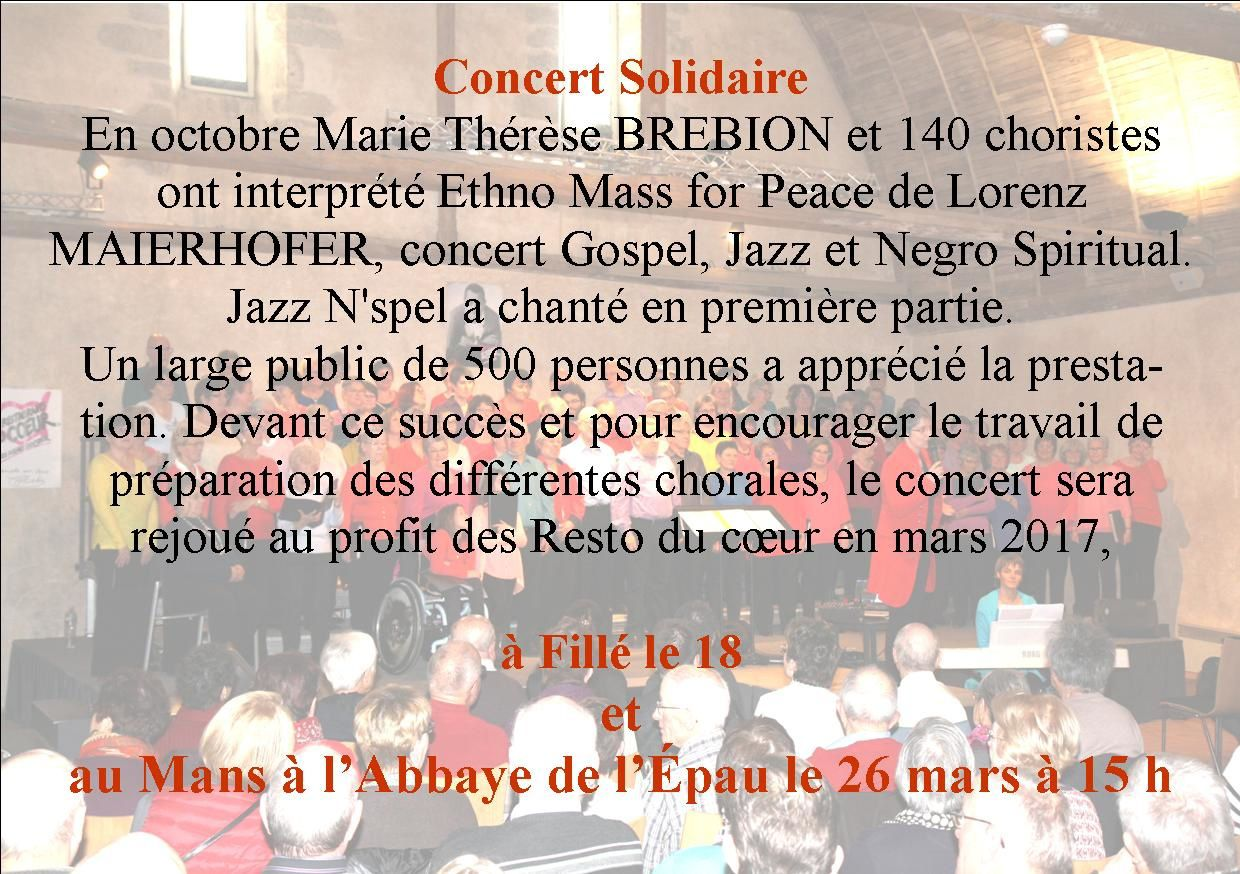 CONCERT SOLIDAIRE LE 26 MARS
